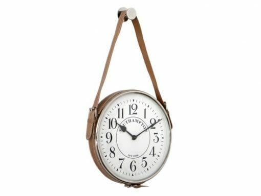 26CM NICKLE HANG CLOCK WITH LEATHER STRAP