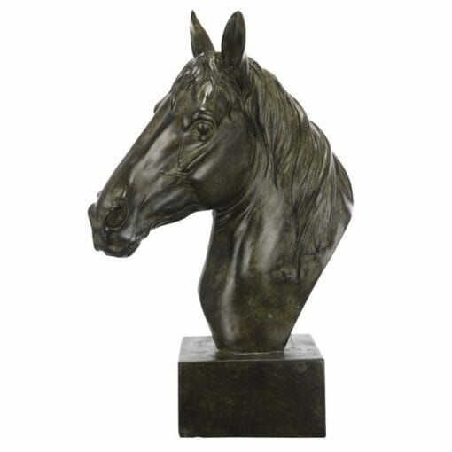 ANTIQUE BROWN HORSE SCULPTURE ON STAND
