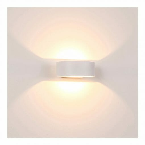 Round White Up & Down LED Wall Light